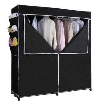Portable Closet with Side Pockets and Shoe Rack Durable Wardrobe Black