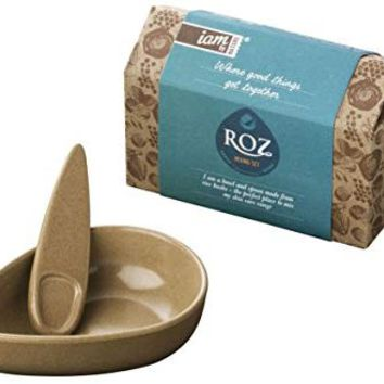 Iam By Nature Roz Skin Care Mixing Bowl and Spoon Set - DIY Kit best for Mixing Clay Face Masks - BPA Free, Eco Friendly, Biodegradable & Made from Natural Rice Husks