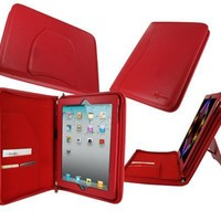 rooCASE Executive Portfolio (Red) Leather Case Cover with Landscape / Portrait View for for Apple iPad 3 / The new iPad / iPad 2 (Automatically Wakes and Puts the iPad to Sleep)
