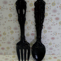 Fork Spoon Set Wall Decor Shabby Chic Classic Black Rustic Weathered Distressed Paris Kitchen Home Decor Oversized Country Chic Wall Art