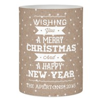 Merry Christmas white typography and snowflake Flameless Candle
