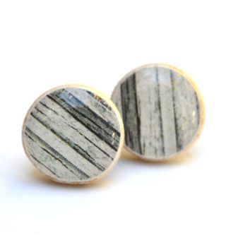 Black and white striped studs wood studs post earrings  eco friendly jewelry earrings wood earrings jewelry for her