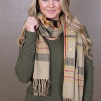 Button Plaid Scarf- Multiple Options