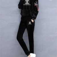 """Chanel"" Women Casual Logo Letter Print Embroidery Long Sleeve Hooded Sweater Trousers Set Two-Piece Sportswear"