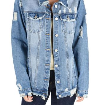 Women's Slashed Back Destroyed Denim Jacket RJK703 - H15B