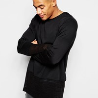ASOS Longline Long Sleeve T-Shirt With Sheer knitted Panel