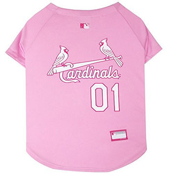 Pets First MLB St. Louis Cardinals Dog Jersey, Small, Pink
