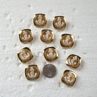 10 Gold  Nautical, Anchor, Shank Back Buttons  (I 9)
