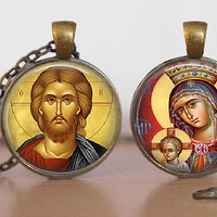 Russian Orthodox Icon Double Sided Pendant Necklace Jesus Christ Virgin Mary Russian Icon  Jewelry