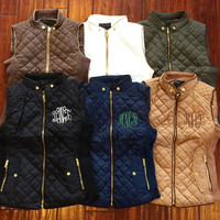 Monogrammed Quilted Vests