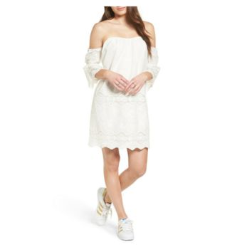 White Embroidered Off the Shoulder Shift Dress