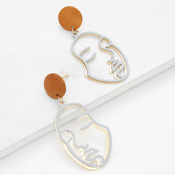 Two Tone Hollow Face Design Drop Earrings