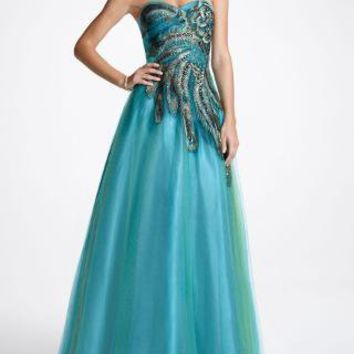 Strapless Tulle Peacock Inspired Prom Ball Gown - David's Bridal - mobile