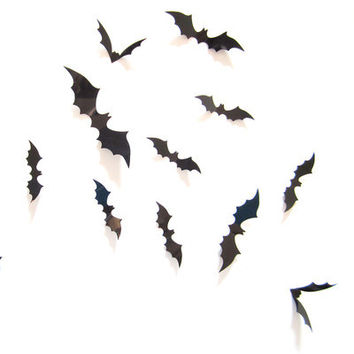 Halloween A set  12 Pieces Black Red Bat Hot Sale Halloween Wall Sticker