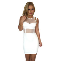 Uptown Funk Bodycon Dress In White