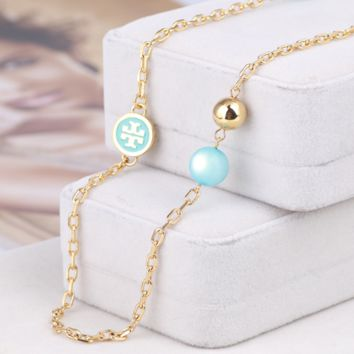 Tory Burch  Fashion New Pearl High Quality Women Personality Long Necklace Sweater Chain Blue