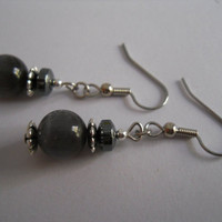 Grey Black and Silver Earrings Dark Gray Hematite Czech Glass Beaded Jewelry