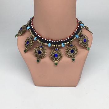 Kuchi Necklace Ethnic Afghan Tribal Blue Color Glass Jingle bell Choker NK23