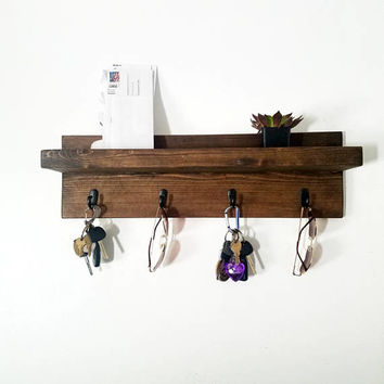 Rustic Entryway Mail Organizer - Mail and Key Holder - Rustic Organizer - Farmhouse Decor