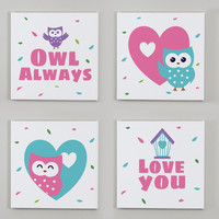Owl Always Love You Wall Canvases - Set of 4