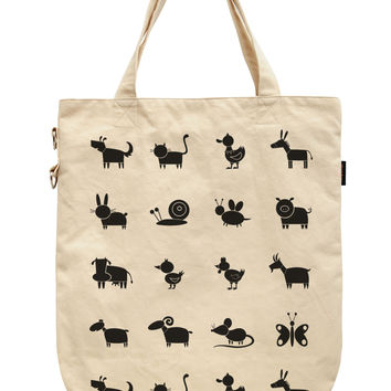 Women Farm Animals Printed Canvas Tote Shoulder Bags WAS_39