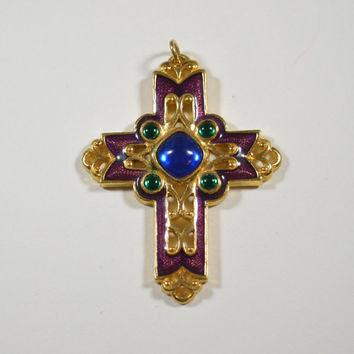 Vintage Avon Cross Crucifix Etruscan Style Blue Green Stones Red Enamel Jewel Toned Colors Goldtone Filigree Ornate Avon Crucifix
