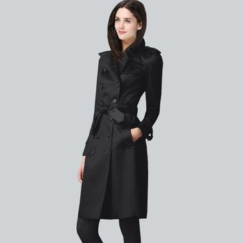 Customer made Europe Itay 2016 autumn female classic double breasted long trenchcoat England luxury women pea coat free shipping