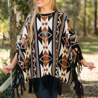 Pocahontas Poncho, Black/Brown