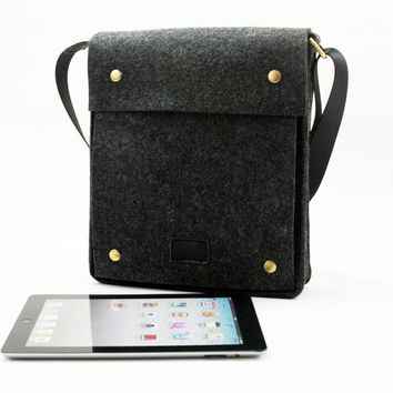 100% Wool Felt Messenger Bag Crossbody Cross Body Bag iPad Bag Shoulder Bag Laptop Bag Shopping Bag Magnetic Button Handmade 1191