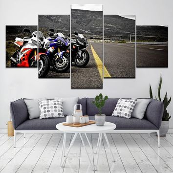 Home Decor Frame For Living Room Wall Art Pictures 5 Pieces Motorcycles Racing Canvas Painting Modular HD Printed Poster Artwork