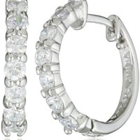 "Sterling Silver Cubic Zirconia Hoop Earrings (0.6"" Diameter) 