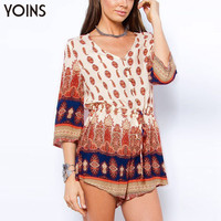 New Vintage Printed Women Playsuits Summer Style V-Neck Three Quarter Sleeves Casual One Piece Jumpsuits Romper