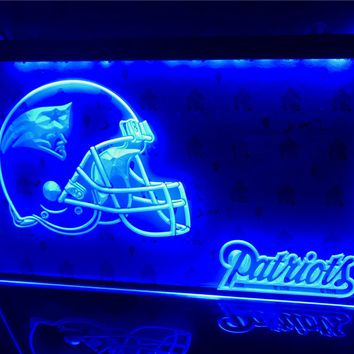 B327- New England Patriots Helmet Bar Led Light Sign