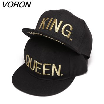 Trendy Winter Jacket VORON KING QUEEN Gold letters Embroidery Snapback Hats Flat Bill Trucker Hats Acrylic Men Women Gifts for Him Her AT_92_12
