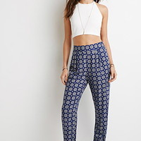 Medallion Print Tapered-Led Pants