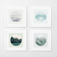 12x12 Landscape Photo Set, Landscape Photo, Ocean photography, Sea Photography, Woodland photography, Nature Prints, Circle Art.