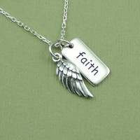Small Faith Necklace , sterling silver wing charm