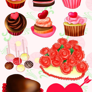 Heart Bakery Valentine's Day Treats Clipart Set Sweets Pink Cake, Cupcakes, Chocolate, Strawberry, Cake Pops, Hearts, PNG & JPEG 300 DPI