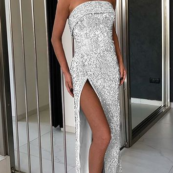 Addicted To Glitz Strapless Foldover Sequin High Slit Maxi Dress - 2 Colors Available