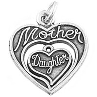 Sterling Silver One Sided Shareable Mother Daughter Double Heart Charm