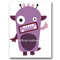 "Childrens Art, Kids Wall Art Baby Boy Room Decor Baby Boy Nursery Decor Kids Art Baby Nursery print 8""x10"" Print monsters Violet decoration"