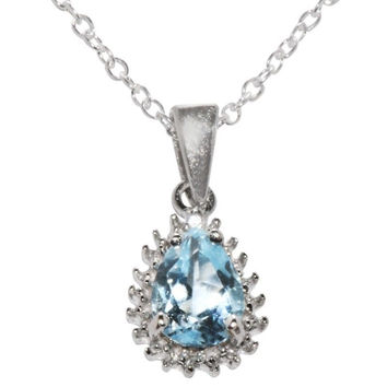 Sterling Silver Blue Topaz and Real Diamond Necklace .01ct 18 Inch Chain