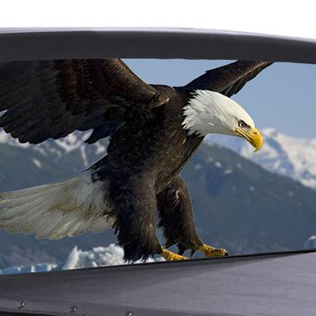 Bald Eagle Universal Truck Rear Window 50/50 Perforated Vinyl Decal