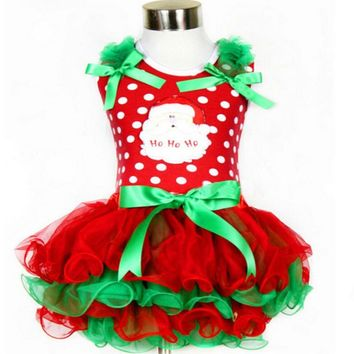 2015 Kids Girls Christmas Dress  Santa Claus Tutu Dress New Year Baby Girl Costumes Merry Christmas Winter Party Clothing