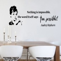 Housewares Vinyl Decal Nothing Impossible Audrey Hepburn Quote Phrase Home Wall Art Decor Removable Stylish Sticker Mural Unique Design for Any Room