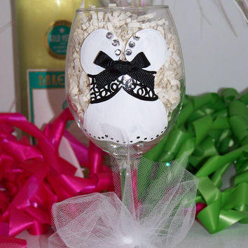 Bachelorette Party Bride Sexy Corset Lingerie Hand Painted Wine Glass