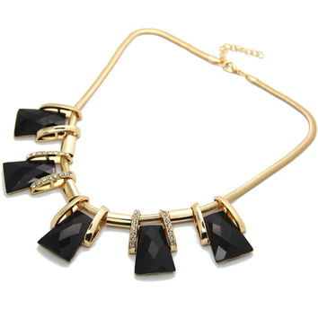 Vintage Women's Stylish Formal Black Gem Crystal Collar Statement Necklace