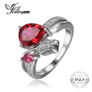 JewelryPalace Flower Rose 2.6ct Created Red Ruby Love Promise Ring 925 Sterling Silver Rings for Women Fine Jewelry