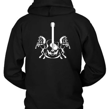 Guitar And Horses Tattoo Hoodie Two Sided