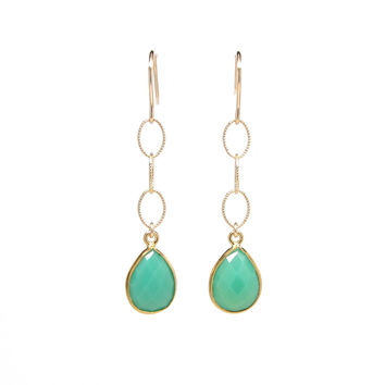 Gold Chrysoprase Teardrop Dangle Earrings